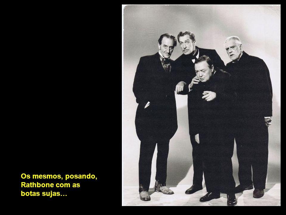 Rathbone, Karloff, Lorre e Price num descanso de A comédia dos terrores, e entramos no gênero de terror…