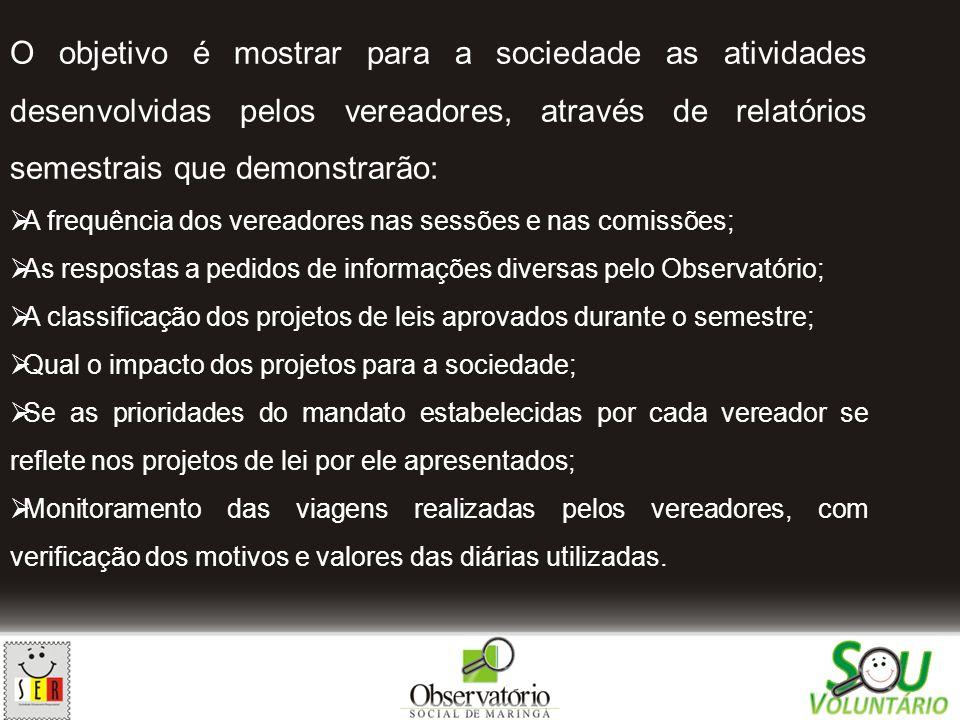 O objetivo é mostrar para a sociedade as atividades desenvolvidas pelos vereadores, através de relatórios semestrais que demonstrarão: A frequência do