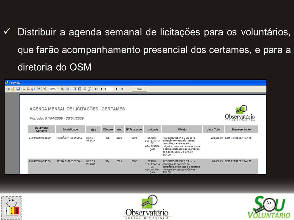 Distribuir a agenda semanal de licitações para os voluntários, que farão acompanhamento presencial dos certames, e para a diretoria do OSM