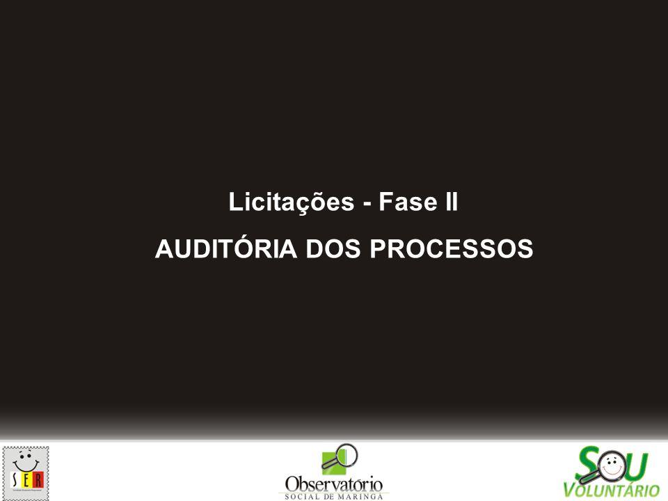 Licitações - Fase II AUDITÓRIA DOS PROCESSOS