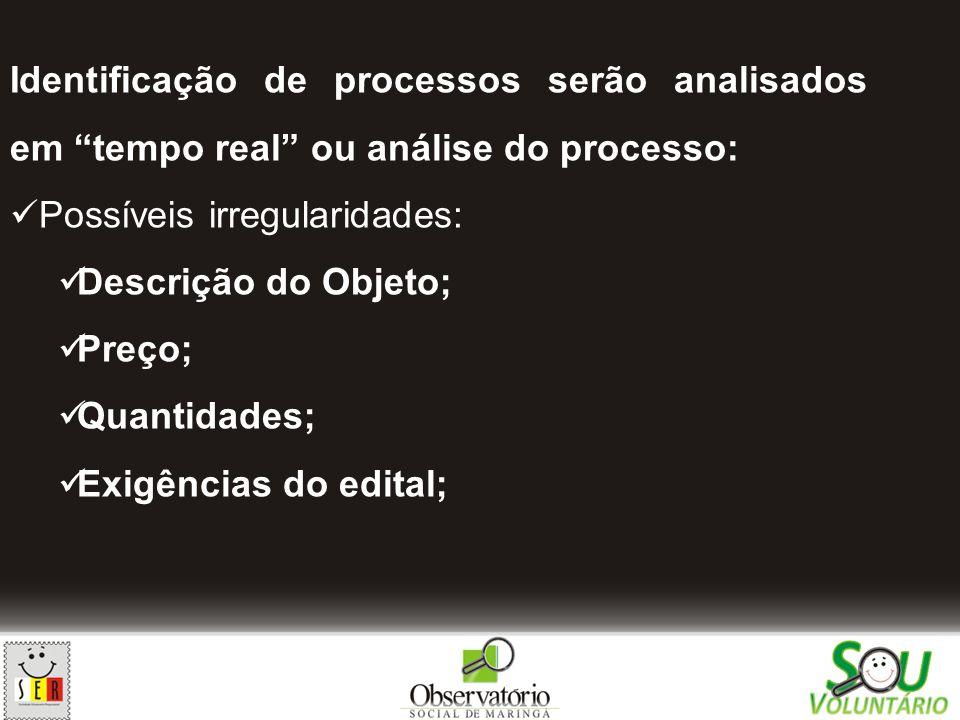 Identificação de processos serão analisados em tempo real ou análise do processo: Possíveis irregularidades: Descrição do Objeto; Preço; Quantidades;