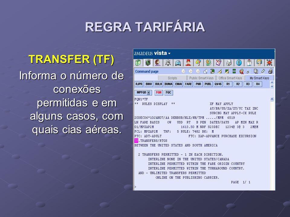 REGRA TARIFÁRIA TRANSFER (TF) Informa o número de conexões permitidas e em alguns casos, com quais cias aéreas.