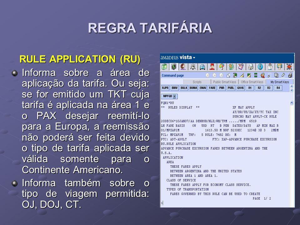 REGRA TARIFÁRIA RULE APPLICATION (RU) Informa sobre a área de aplicação da tarifa. Ou seja: se for emitido um TKT cuja tarifa é aplicada na área 1 e o