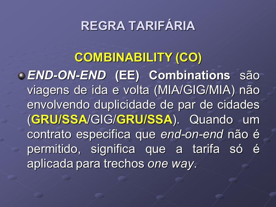 REGRA TARIFÁRIA COMBINABILITY (CO) END-ON-END (EE) Combinations são viagens de ida e volta (MIA/GIG/MIA) não envolvendo duplicidade de par de cidades