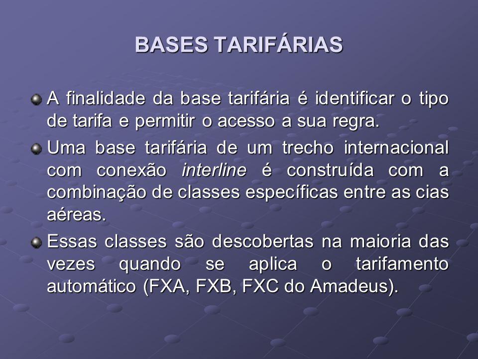 BASES TARIFÁRIAS A finalidade da base tarifária é identificar o tipo de tarifa e permitir o acesso a sua regra. Uma base tarifária de um trecho intern