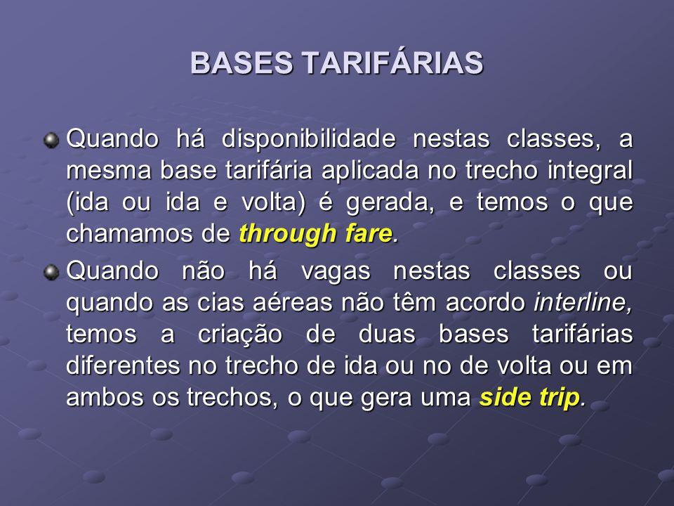 BASES TARIFÁRIAS Quando há disponibilidade nestas classes, a mesma base tarifária aplicada no trecho integral (ida ou ida e volta) é gerada, e temos o