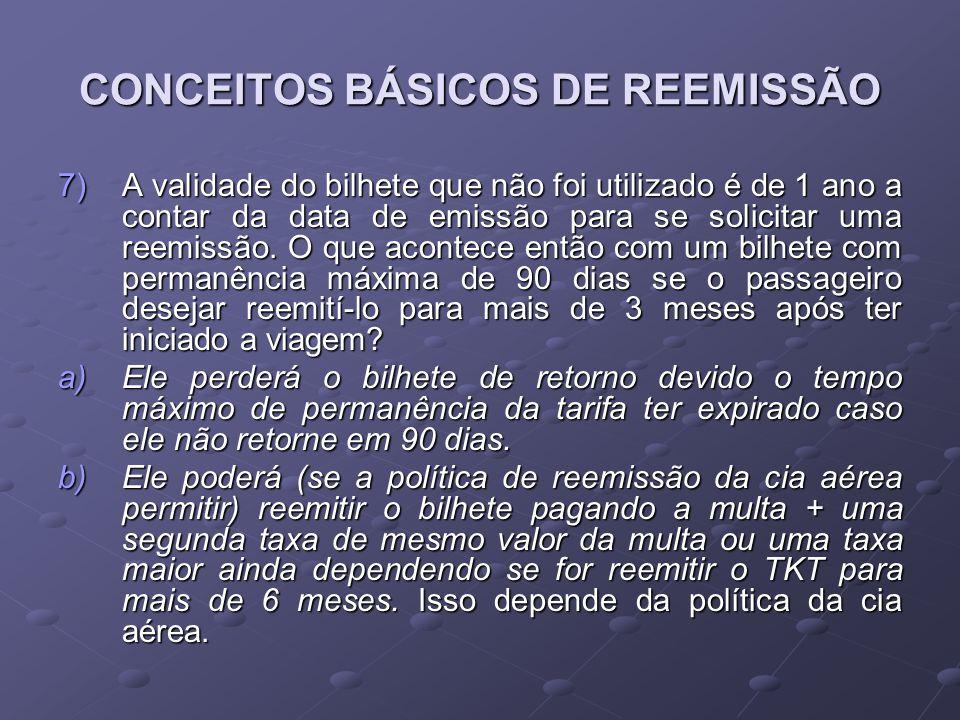CONCEITOS BÁSICOS DE REEMISSÃO 7)A validade do bilhete que não foi utilizado é de 1 ano a contar da data de emissão para se solicitar uma reemissão. O