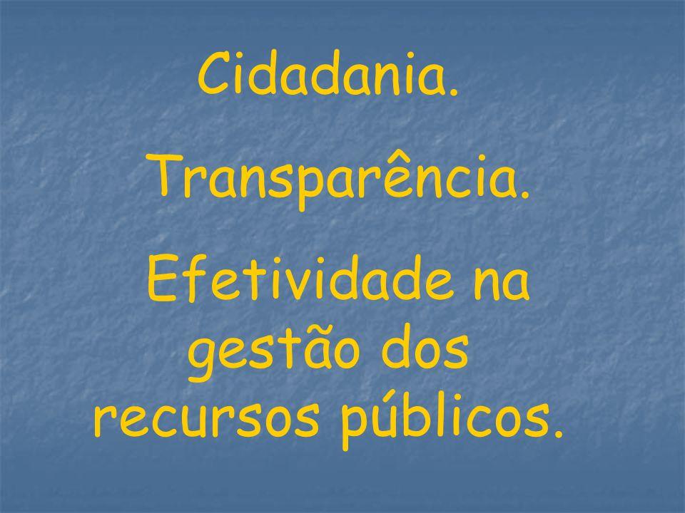Cidadania. Transparência. Efetividade na gestão dos recursos públicos.