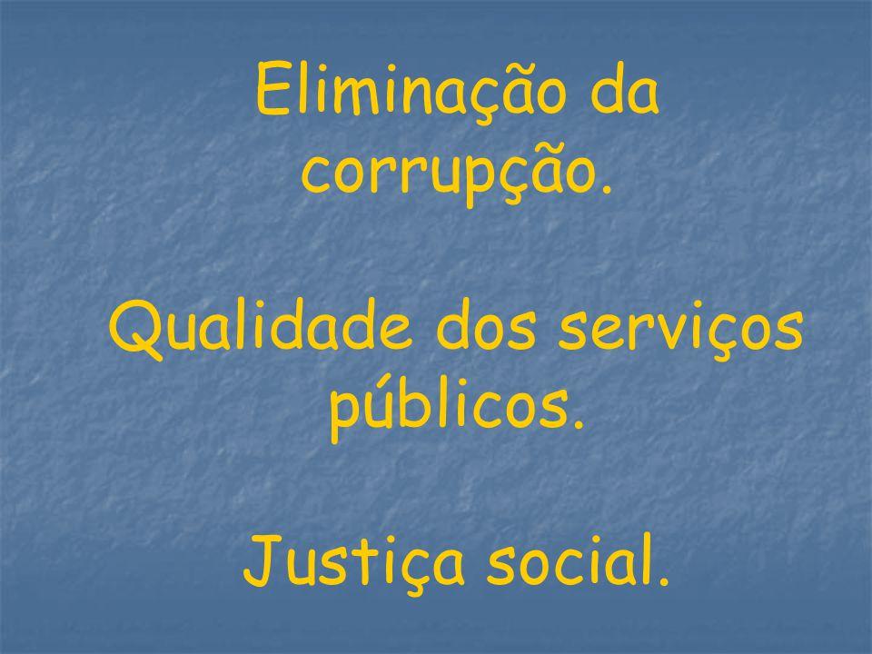 Eliminação da corrupção. Qualidade dos serviços públicos. Justiça social.