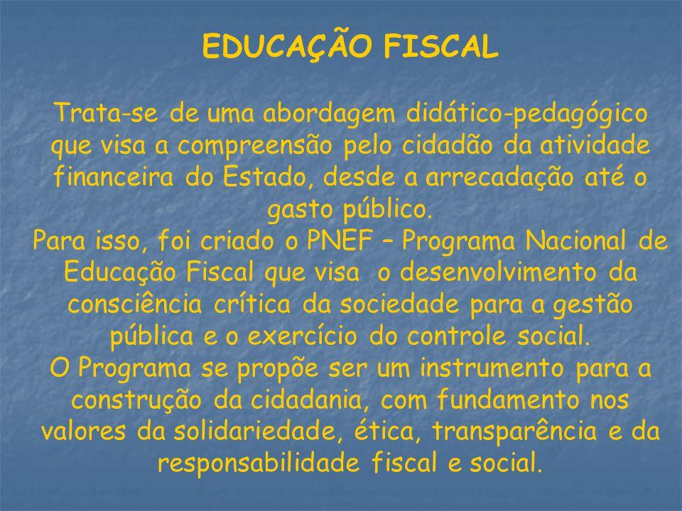 EDUCAÇÃO FISCAL Trata-se de uma abordagem didático-pedagógico que visa a compreensão pelo cidadão da atividade financeira do Estado, desde a arrecadaç