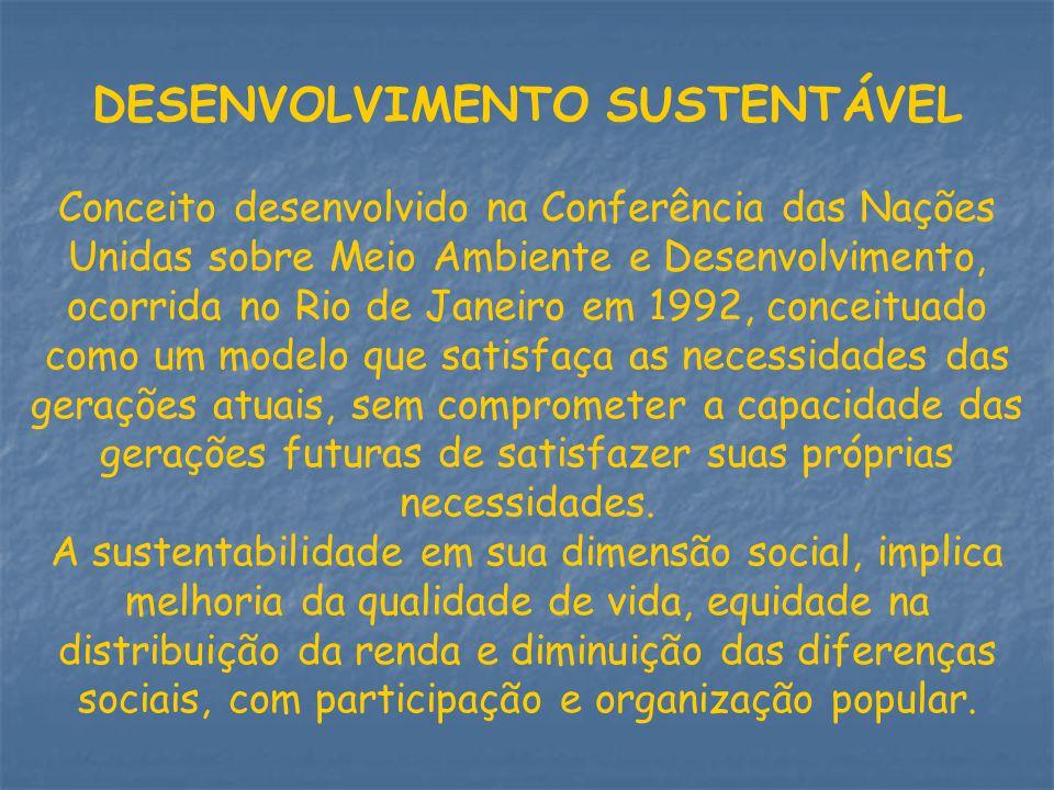 DESENVOLVIMENTO SUSTENTÁVEL Conceito desenvolvido na Conferência das Nações Unidas sobre Meio Ambiente e Desenvolvimento, ocorrida no Rio de Janeiro e