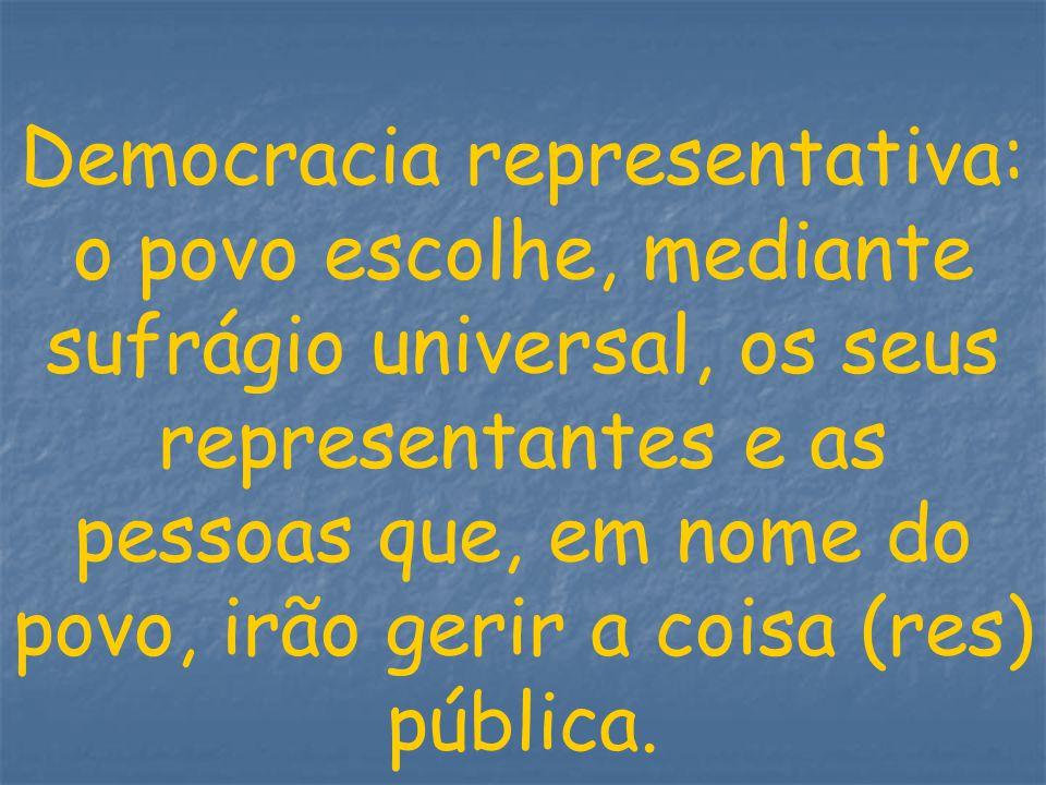 Democracia representativa: o povo escolhe, mediante sufrágio universal, os seus representantes e as pessoas que, em nome do povo, irão gerir a coisa (