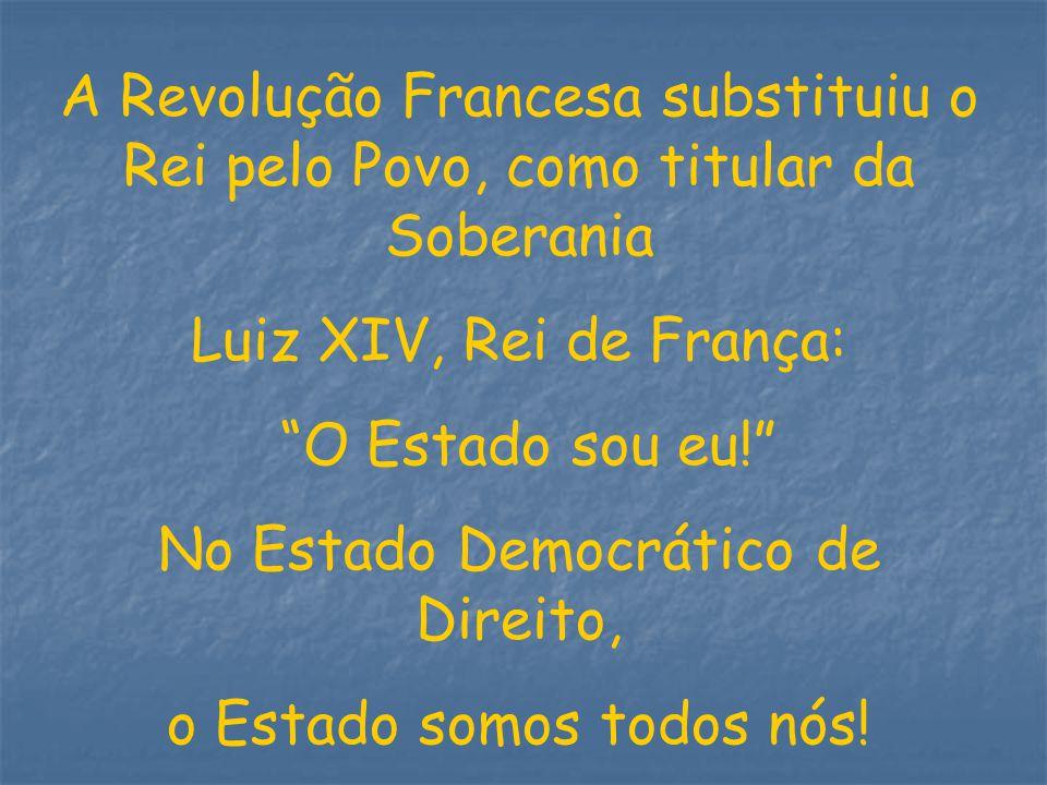 A Revolução Francesa substituiu o Rei pelo Povo, como titular da Soberania Luiz XIV, Rei de França: O Estado sou eu! No Estado Democrático de Direito,