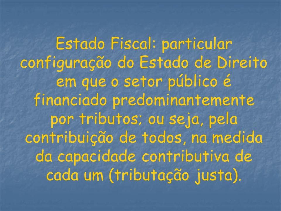 Estado Fiscal: particular configuração do Estado de Direito em que o setor público é financiado predominantemente por tributos; ou seja, pela contribu