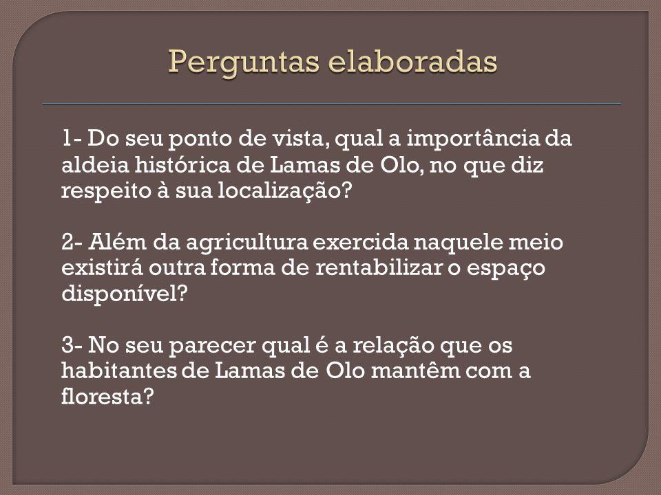 1- Do seu ponto de vista, qual a importância da aldeia histórica de Lamas de Olo, no que diz respeito à sua localização? 2- Além da agricultura exerci