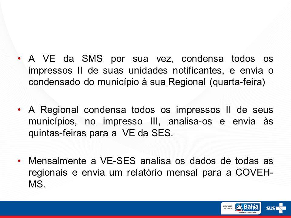 A VE da SMS por sua vez, condensa todos os impressos II de suas unidades notificantes, e envia o condensado do município à sua Regional (quarta-feira)