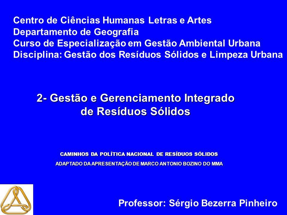 2- Gestão e Gerenciamento Integrado de Resíduos Sólidos Centro de Ciências Humanas Letras e Artes Departamento de Geografia Curso de Especialização em