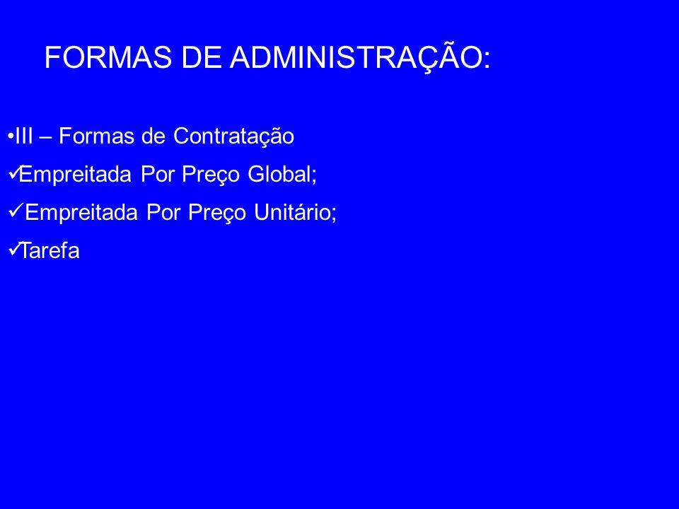 FORMAS DE ADMINISTRAÇÃO: III – Formas de Contratação Empreitada Por Preço Global; Empreitada Por Preço Unitário; Tarefa
