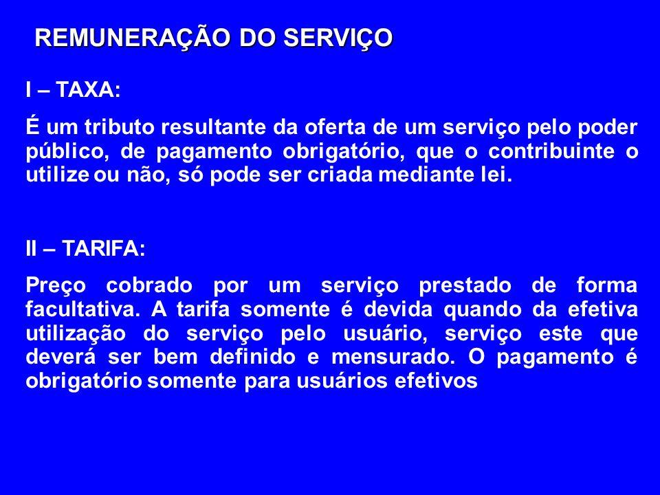 REMUNERAÇÃO DO SERVIÇO I – TAXA: É um tributo resultante da oferta de um serviço pelo poder público, de pagamento obrigatório, que o contribuinte o ut