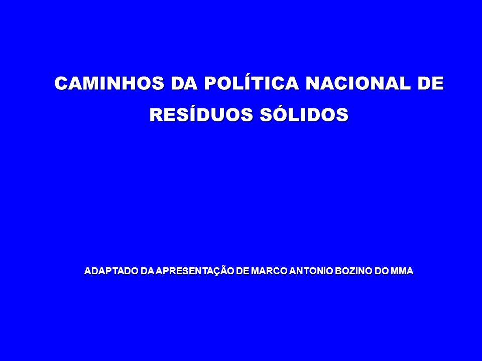 CAMINHOS DA POLÍTICA NACIONAL DE RESÍDUOS SÓLIDOS ADAPTADO DA APRESENTAÇÃO DE MARCO ANTONIO BOZINO DO MMA