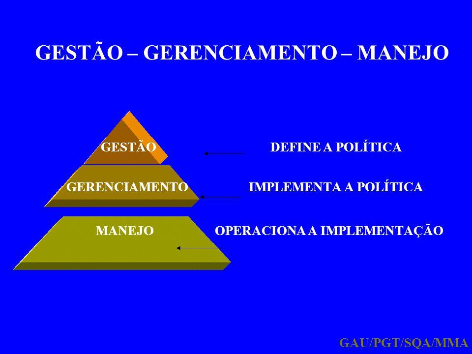 GESTÃO – GERENCIAMENTO – MANEJO GESTÃO DEFINE A POLÍTICA GERENCIAMENTO IMPLEMENTA A POLÍTICA MANEJO OPERACIONA A IMPLEMENTAÇÃO GAU/PGT/SQA/MMA