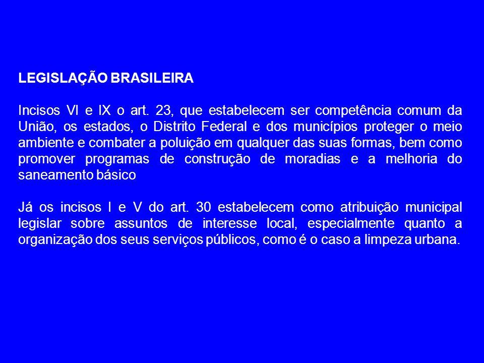 LEGISLAÇÃO BRASILEIRA Incisos VI e IX o art. 23, que estabelecem ser competência comum da União, os estados, o Distrito Federal e dos municípios prote