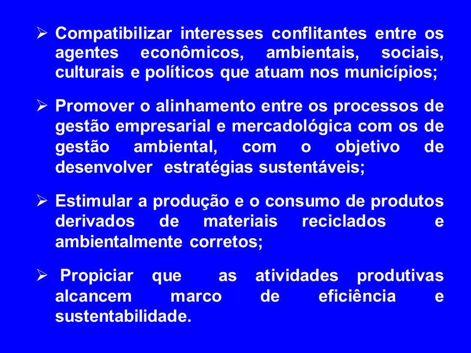 Compatibilizar interesses conflitantes entre os agentes econômicos, ambientais, sociais, culturais e políticos que atuam nos municípios; Promover o al