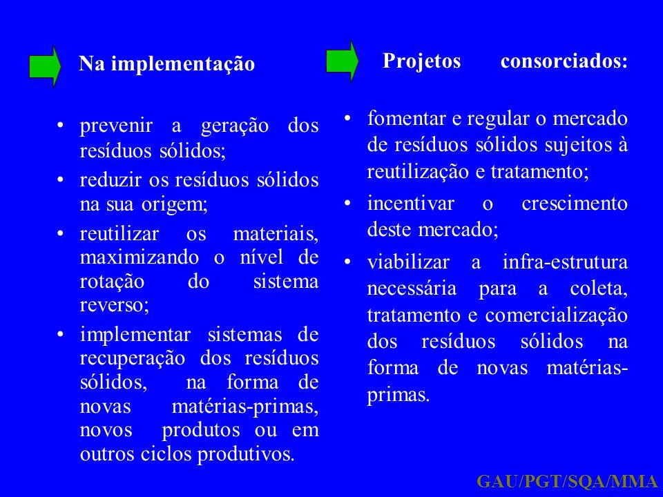 Na implementação prevenir a geração dos resíduos sólidos; reduzir os resíduos sólidos na sua origem; reutilizar os materiais, maximizando o nível de r