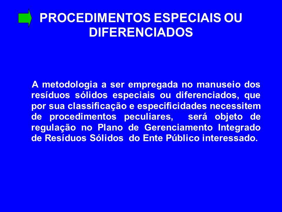 PROCEDIMENTOS ESPECIAIS OU DIFERENCIADOS A metodologia a ser empregada no manuseio dos resíduos sólidos especiais ou diferenciados, que por sua classi