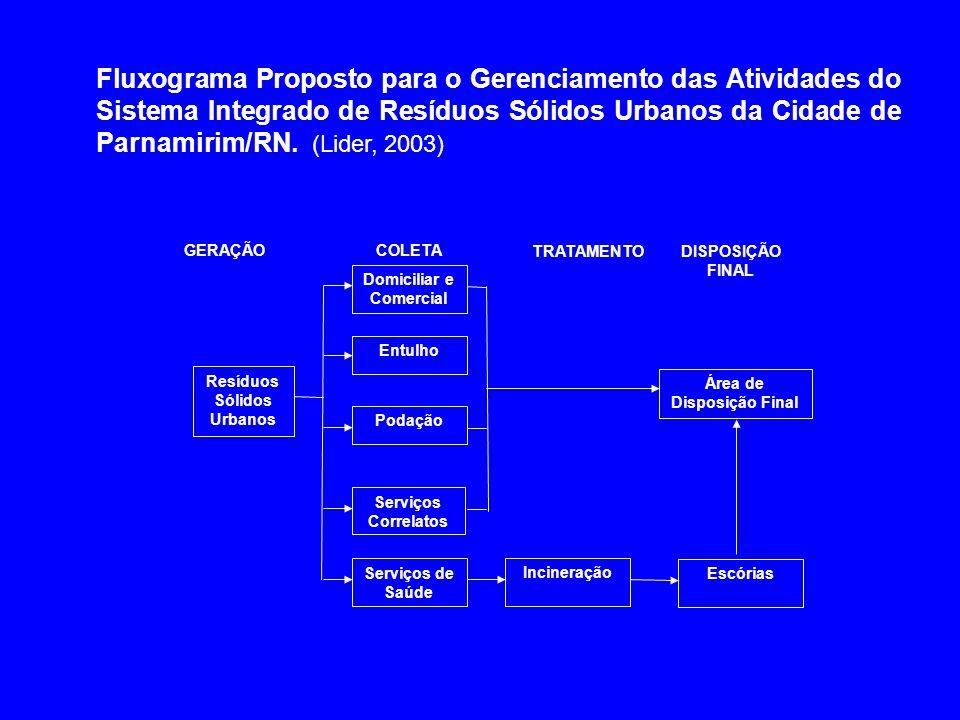Resíduos Sólidos Urbanos Domiciliar e Comercial Entulho Podação Serviços Correlatos GERAÇÃOCOLETA Serviços de Saúde Área de Disposição Final Incineraç