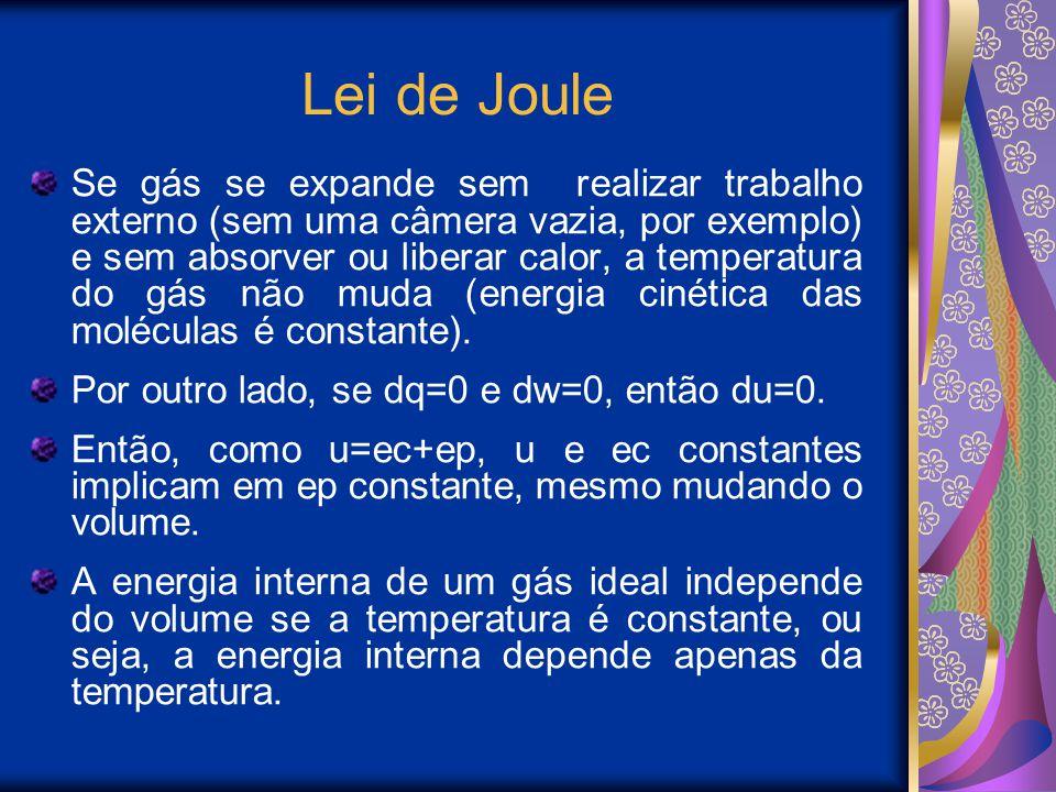 Lei de Joule Se gás se expande sem realizar trabalho externo (sem uma câmera vazia, por exemplo) e sem absorver ou liberar calor, a temperatura do gás não muda (energia cinética das moléculas é constante).