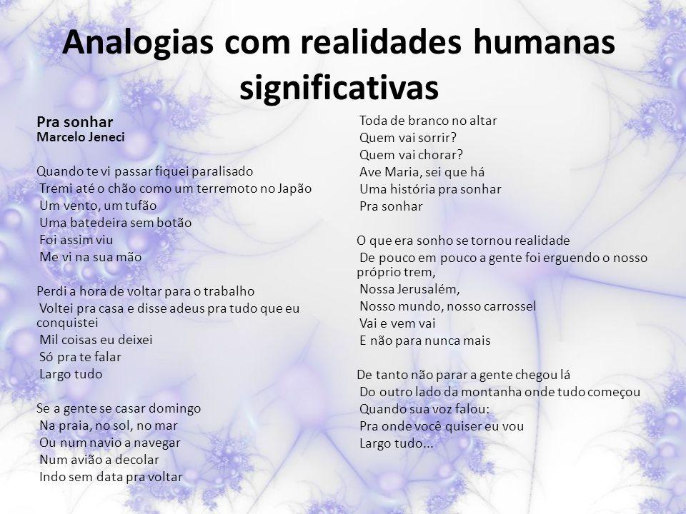 Analogias com realidades humanas significativas Pra sonhar Marcelo Jeneci Quando te vi passar fiquei paralisado Tremi até o chão como um terremoto no
