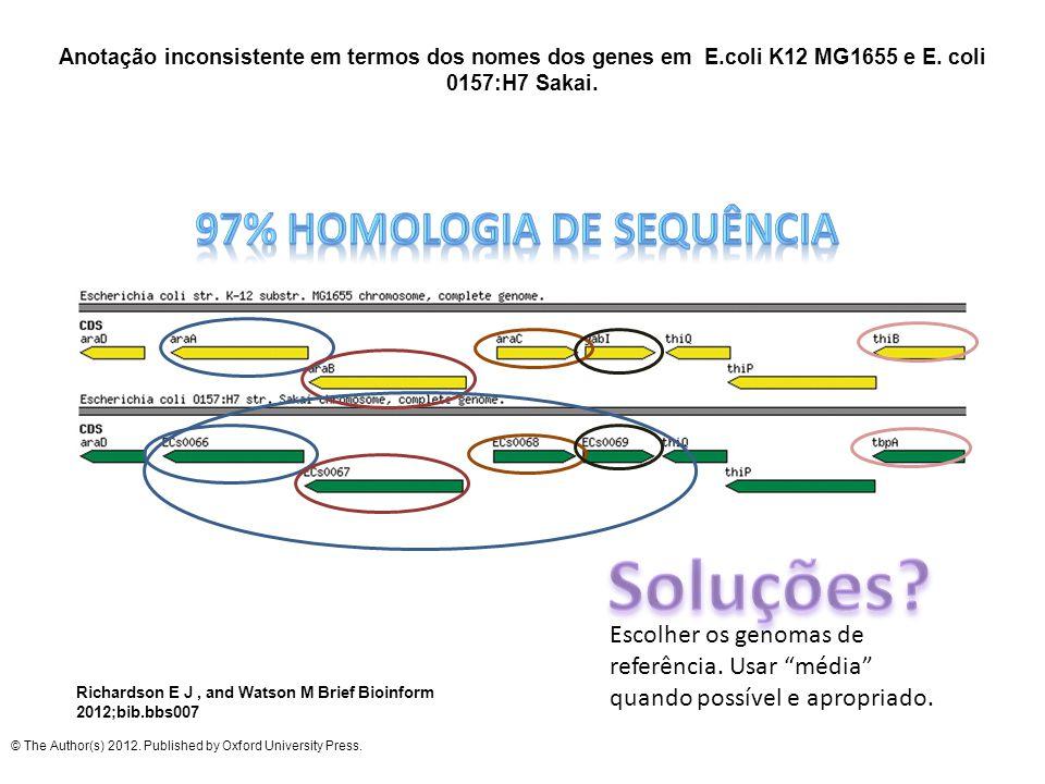 Anotação inconsistente em termos dos nomes dos genes em E.coli K12 MG1655 e E. coli 0157:H7 Sakai. Richardson E J, and Watson M Brief Bioinform 2012;b