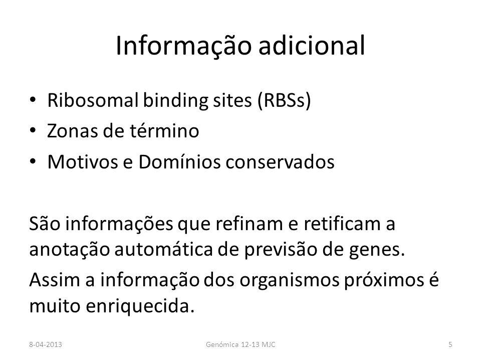 Informação adicional Ribosomal binding sites (RBSs) Zonas de término Motivos e Domínios conservados São informações que refinam e retificam a anotação
