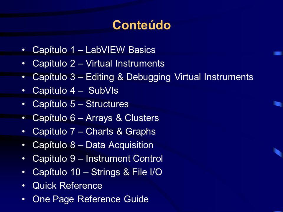 Conteúdo Capítulo 1 – LabVIEW Basics Capítulo 2 – Virtual Instruments Capítulo 3 – Editing & Debugging Virtual Instruments Capítulo 4 – SubVIs Capítul