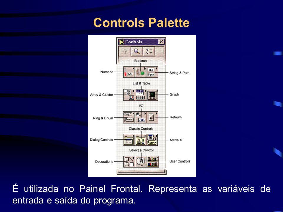 Controls Palette É utilizada no Painel Frontal. Representa as variáveis de entrada e saída do programa.