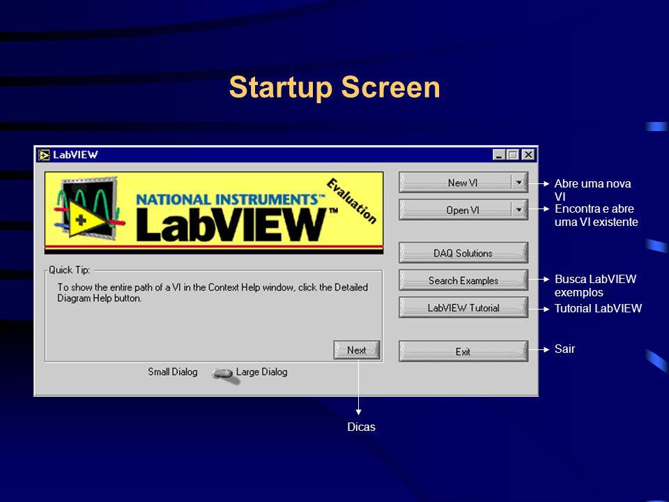 Startup Screen Abre uma nova VI Encontra e abre uma VI existente Busca LabVIEW exemplos Tutorial LabVIEW Sair Dicas