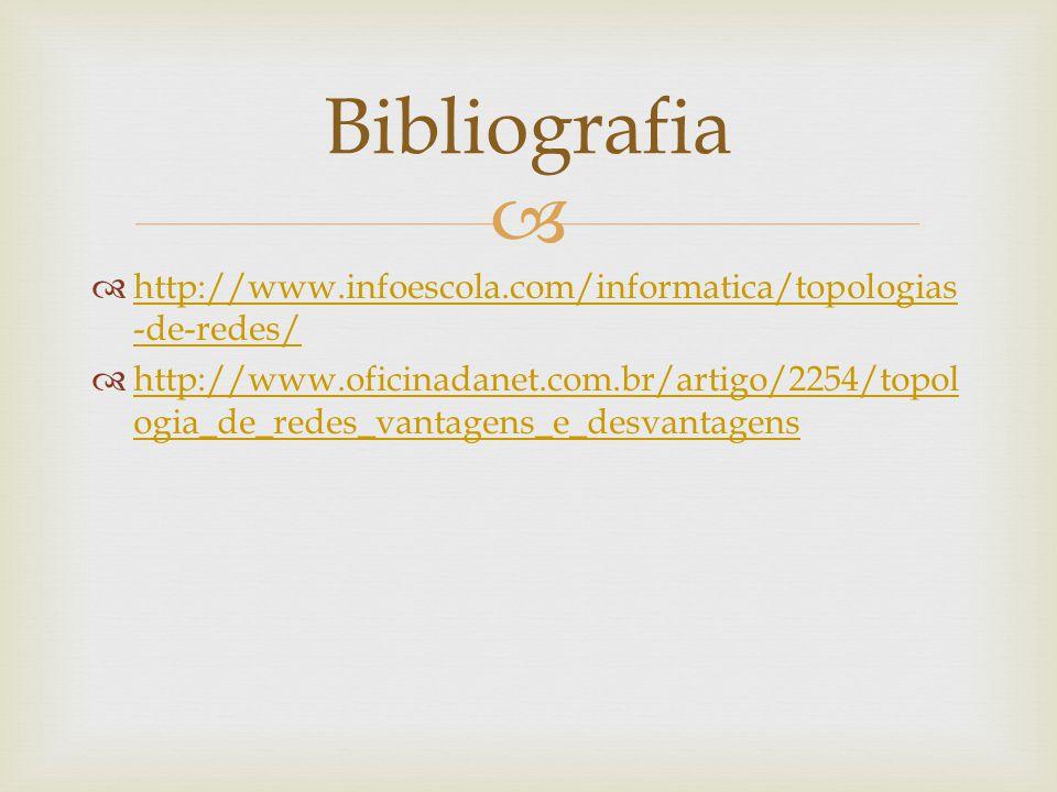 http://www.infoescola.com/informatica/topologias -de-redes/ http://www.infoescola.com/informatica/topologias -de-redes/ http://www.oficinadanet.com.br/artigo/2254/topol ogia_de_redes_vantagens_e_desvantagens http://www.oficinadanet.com.br/artigo/2254/topol ogia_de_redes_vantagens_e_desvantagens Bibliografia