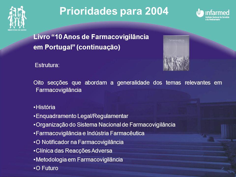 Livro 10 Anos de Farmacovigilância em Portugal (continuação) Anexos: Legislação Revisão da tradução do Documento Estratégia Síntese das conclusões do Seminário de Farmacovigilância CD Obra integral navegável Diplomas legislativos Prioridades para 2004