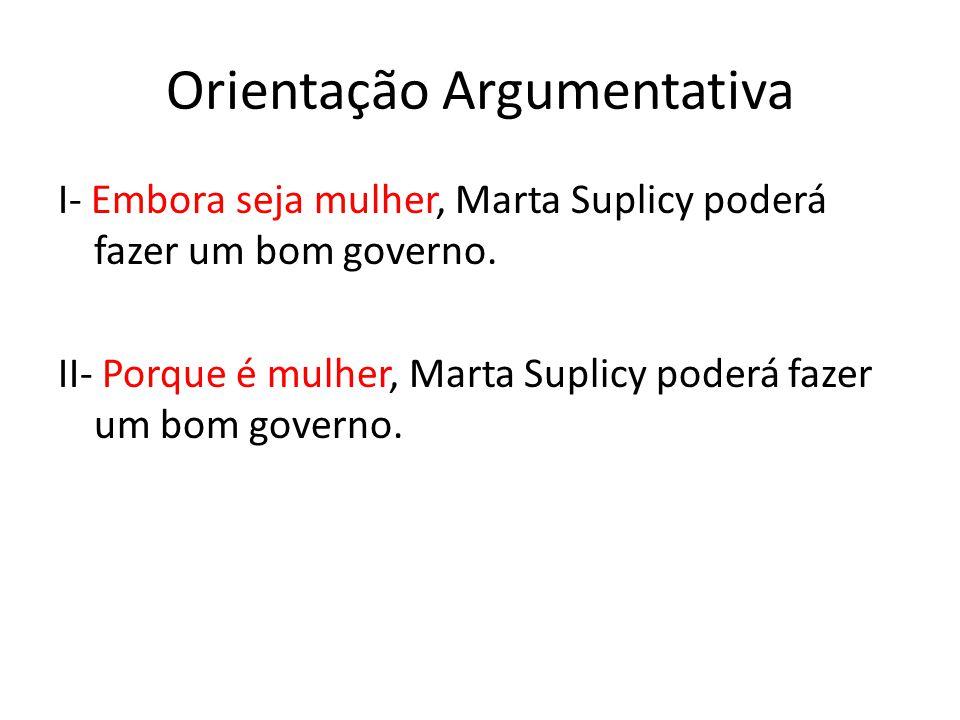 Orientação Argumentativa I- Embora seja mulher, Marta Suplicy poderá fazer um bom governo. II- Porque é mulher, Marta Suplicy poderá fazer um bom gove