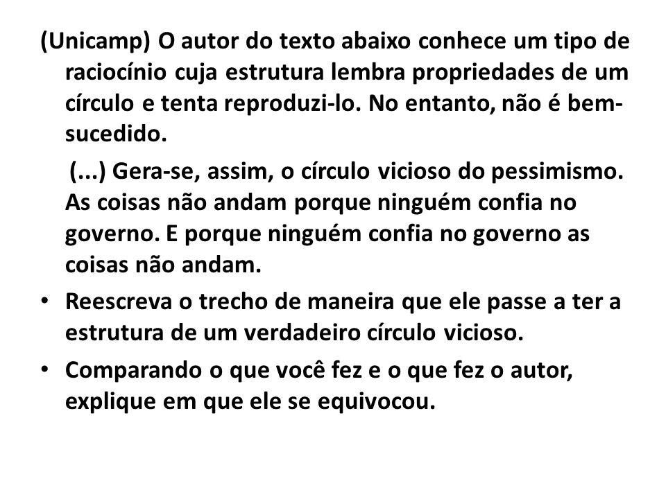 (Unicamp) O autor do texto abaixo conhece um tipo de raciocínio cuja estrutura lembra propriedades de um círculo e tenta reproduzi-lo. No entanto, não