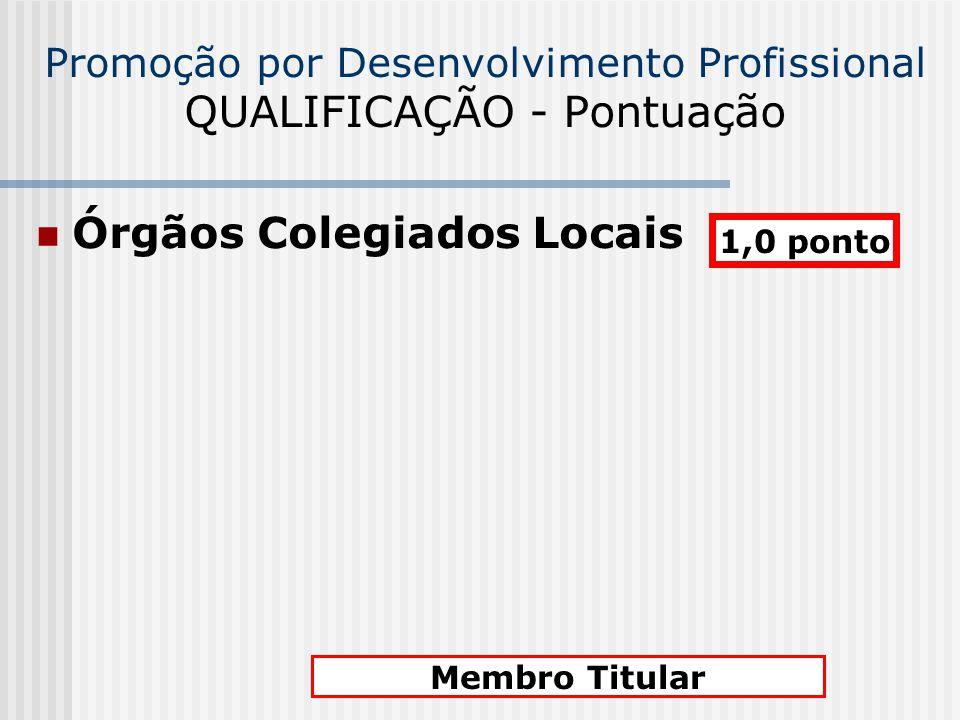 Promoção por Desenvolvimento Profissional QUALIFICAÇÃO - Pontuação Órgãos Colegiados Locais 1,0 ponto Membro Titular
