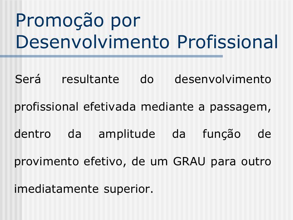 Promoção por Desenvolvimento Profissional Será resultante do desenvolvimento profissional efetivada mediante a passagem, dentro da amplitude da função