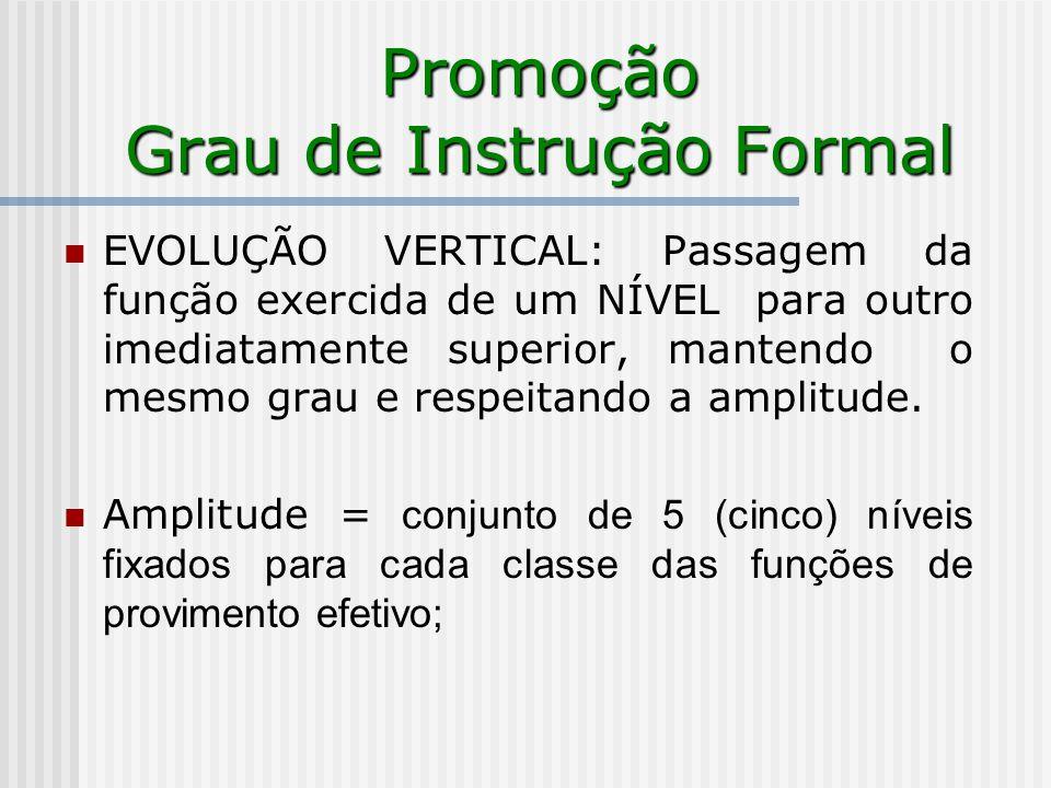 Promoção Grau de Instrução Formal EVOLUÇÃO VERTICAL: Passagem da função exercida de um NÍVEL para outro imediatamente superior, mantendo o mesmo grau