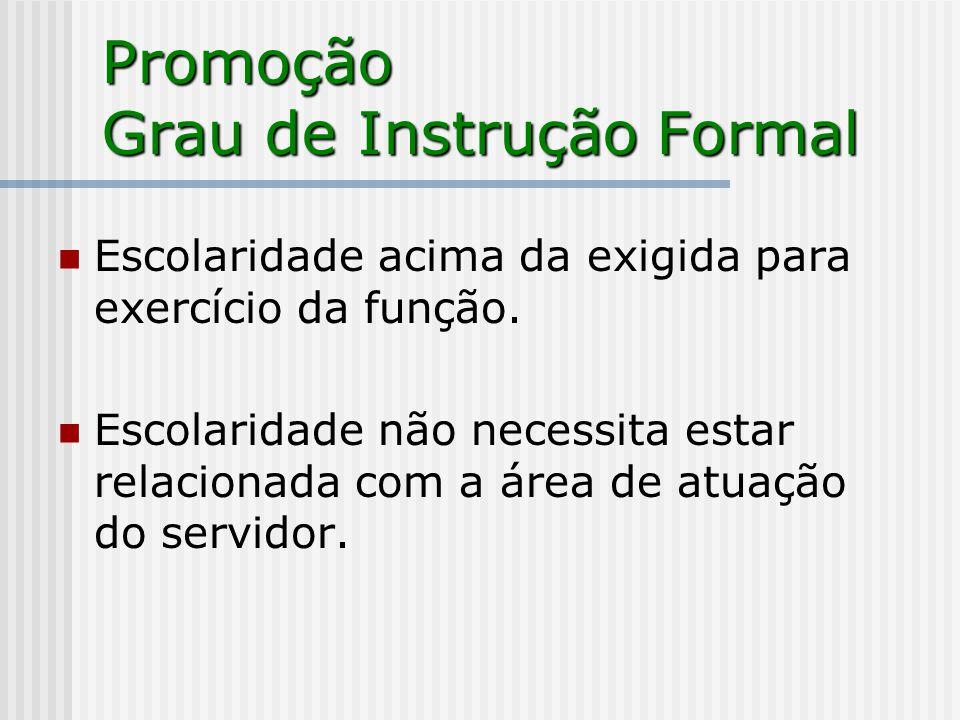Promoção Grau de Instrução Formal Escolaridade acima da exigida para exercício da função. Escolaridade não necessita estar relacionada com a área de a
