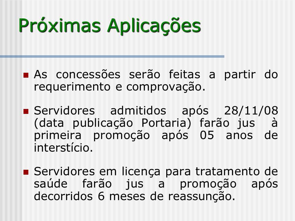 Próximas Aplicações As concessões serão feitas a partir do requerimento e comprovação. Servidores admitidos após 28/11/08 (data publicação Portaria) f