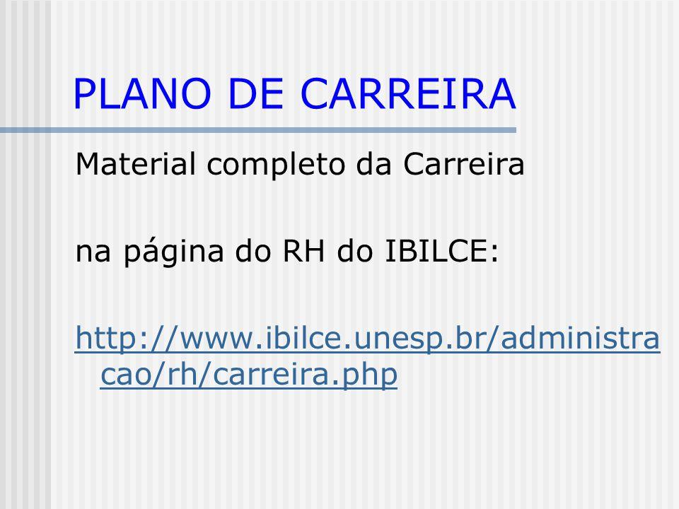 PLANO DE CARREIRA Material completo da Carreira na página do RH do IBILCE: http://www.ibilce.unesp.br/administra cao/rh/carreira.php