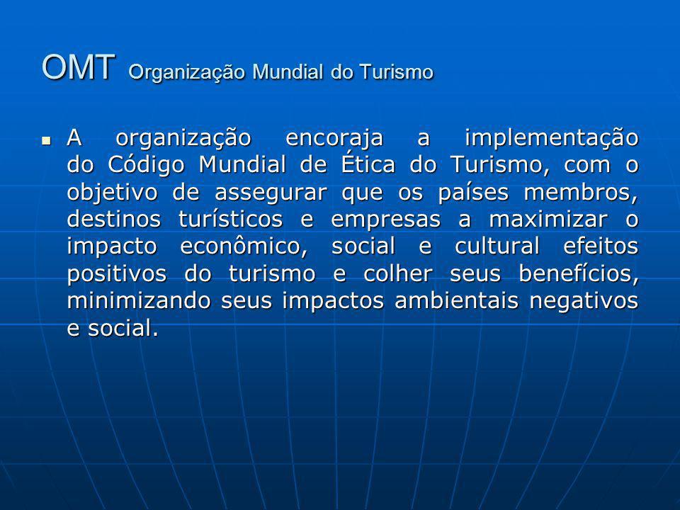 OMT Organização Mundial do Turismo A organização encoraja a implementação do Código Mundial de Ética do Turismo, com o objetivo de assegurar que os pa