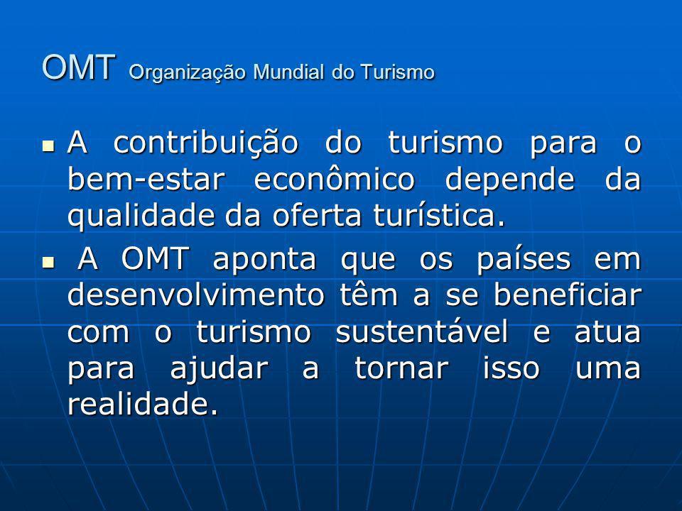 OMT Organização Mundial do Turismo A contribuição do turismo para o bem-estar econômico depende da qualidade da oferta turística. A contribuição do tu