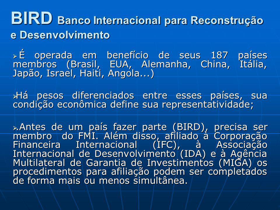 É operada em benefício de seus 187 países membros (Brasil, EUA, Alemanha, China, Itália, Japão, Israel, Haiti, Angola...) É operada em benefício de se